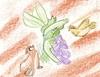 snorlax: pidgey a pidgeotto útočína tranéra kterého brání scyther
